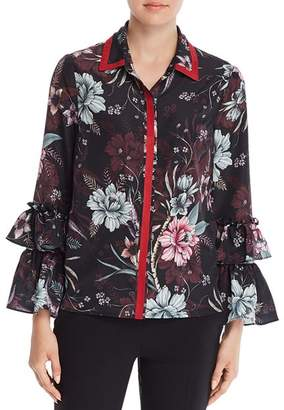 Badgley Mischka Floral Ruffle Sleeve Blouse