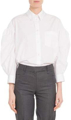 Simone Rocha Embellished-Collar Balloon Bracelet-Sleeve Button-Front Poplin Shirt