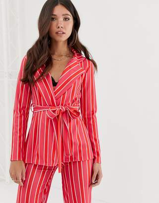 Missguided blazer co-ord with tie waist in pink stripe
