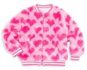 Design History Little Girl's Faux-Fur Heart Bomber Jacket