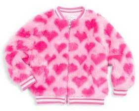 Design History Little Girl's Faux Fur Heart Bomber Jacket