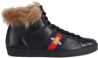 Gucci Ace high-top sneaker with fur