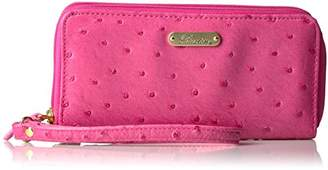 Buxton Ostrich Brights Slim Double Zip with Wristlet