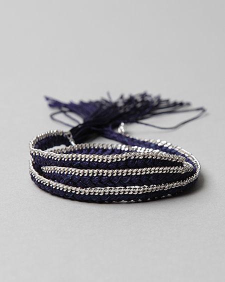 Alyssa Norton Silver Chain & Silk Wrap Bracelet