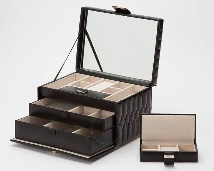 Wolf Caroline Medium Black Jewelry Case