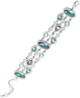 Jenny Packham Silver-Tone Pave & Stone Triple-Row Flex Bracelet