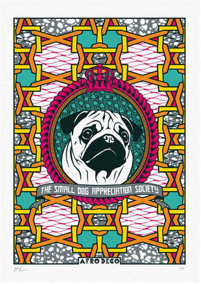 Afro Deco - Pug The Small Dog Appreciation Society