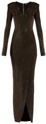 Balmain Deep V-neck embellished crepe-jersey gown