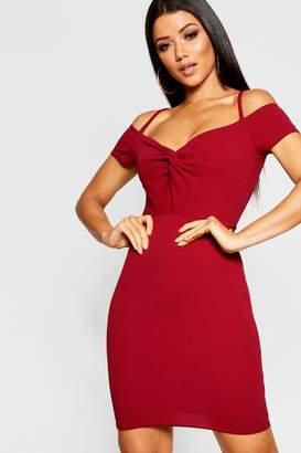 boohoo Knot Front Off The Shoulder Dress