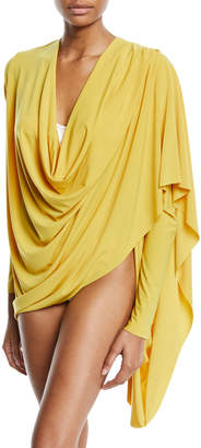 Norma Kamali Cowl-Neck Jersey Wrap Cardigan