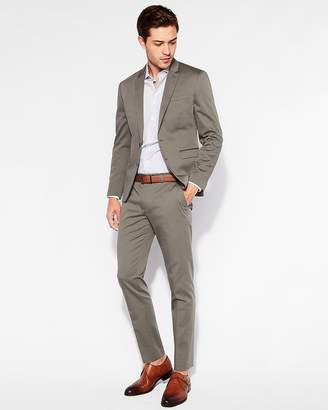 Express Extra Slim Green Cotton Sateen Suit Pant
