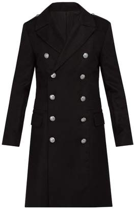 Balmain Double Breasted Military Coat - Mens - Black