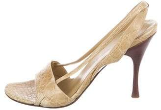 Gucci Alligator Slingback Sandals