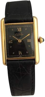 Cartier Vintage Tank Must Black Silver Gilt Watches