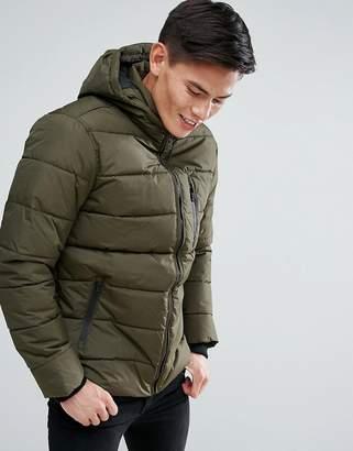 Burton Menswear Quilted Puffer Jacket In Khaki