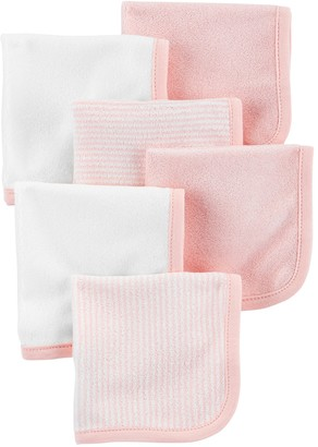 Carter's Baby Girl 6-Pack Striped & Solid Wash Cloths