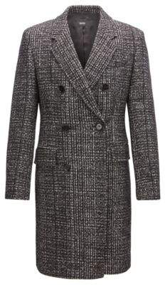 BOSS Hugo Double-breasted coat in melange fabric 40R Open Grey
