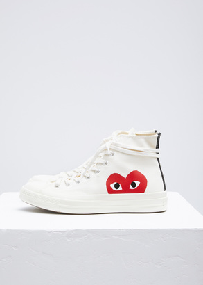 Comme des Garcons PLAY beige converse chuck taylor high-top $125 thestylecure.com