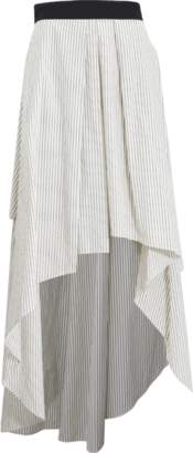 Brunello Cucinelli Striped High Low Skirt
