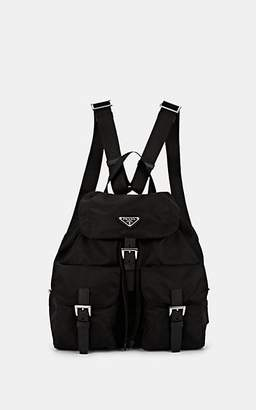 Prada Women's Vela Leather-Trimmed Backpack - Black