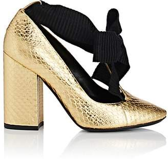 Philosophy di Lorenzo Serafini WOMEN'S STAMPED LEATHER ANKLE-TIE PUMPS - GOLD SIZE 6