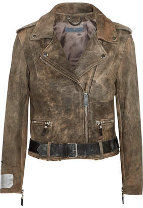 Golden Goose Mini Chiodo Calf Hair-trimmed Leather Biker Jacket - Gray green
