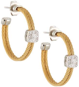 Alor Classique Steel & 18k Diamond Cable Hoop Earrings