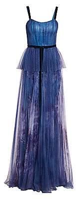 Marchesa Women's Sequin Peplum Waist Gown