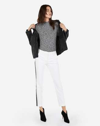Express One Eleven Heather Mock Neck Ribbed Tee