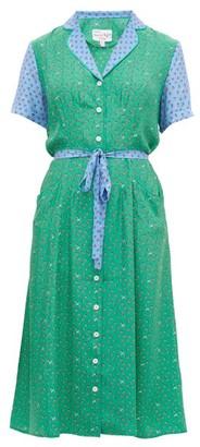 HVN Maria Floral Print Silk Midi Dress - Womens - Green Multi