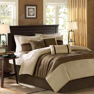 Madison Park Palmer Cal King Size Bed Comforter Set Bed in A Bag - Taupe