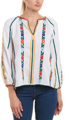 Love Sam Jillian Embroidered Linen-Blend Blouse