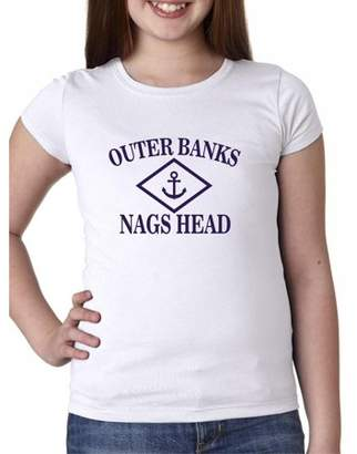 Hollywood Thread Outer Banks - Nags Head, NC - Nautical Anchor Girl's Cotton Youth T-Shirt
