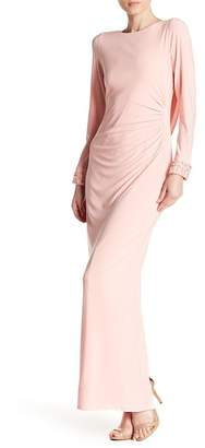 Marina Rhinestone & Faux Pearl Lined Gown