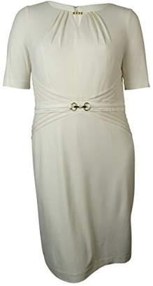 Ellen Tracy Women's Short Sleeve Sheath Dress with Neck Cut Out