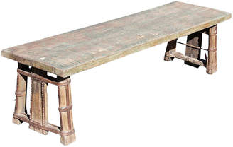 One Kings Lane Vintage Rustic Painted Oxcart Coffee Table Bench - de-cor