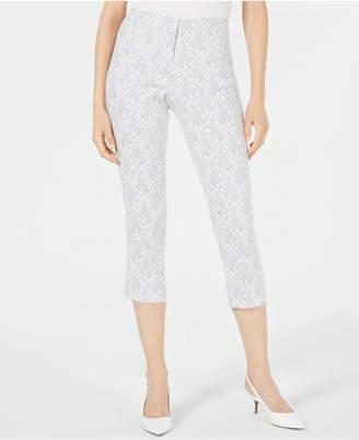 Alfani Petite Jacquard Hollywood Waist Cropped Pants