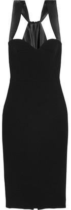 Victoria Beckham - Satin-trimmed Crepe Dress - Black