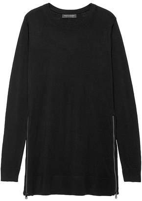 Banana Republic Petite Washable Merino Sweater Tunic with Zipper Accent