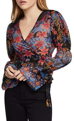 BCBGeneration Tiered-Sleeve Wrap Top