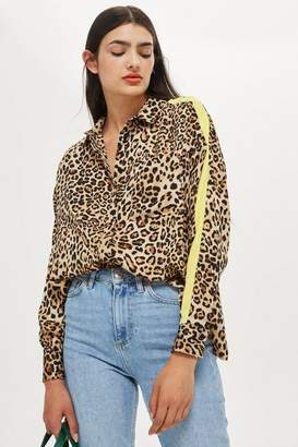 Topshop Animal Print Side Striped Shirt