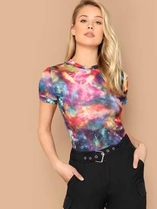 Shein Mock-neck Galaxy Print Tee