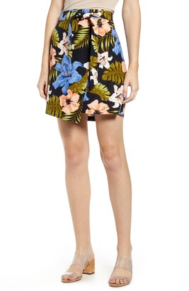 Vero Moda Efie Milo Tropical Print Faux Wrap Miniskirt