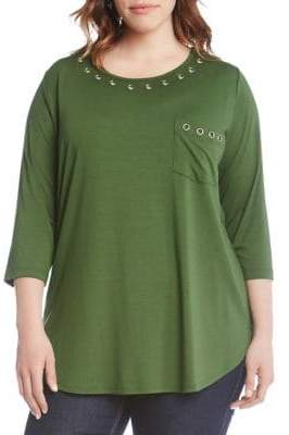 Karen Kane Plus Grommet-Trimmed Roundneck Top