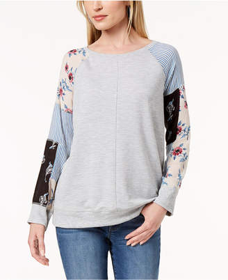 Style&Co. Style & Co Patchwork-Sleeve Sweatshirt, Created for Macy's