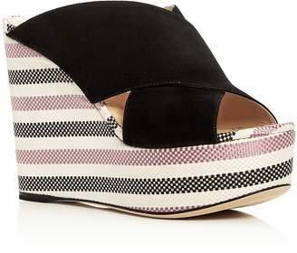 Sergio Rossi Women's Alma Suede Wedge Platform Slide Sandals - 100% Exclusive