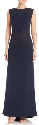 Tadashi Shoji Metallic Lace-Trimmed Crepe Gown $468 thestylecure.com