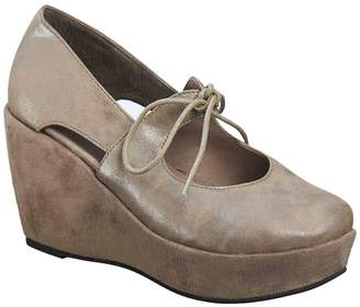 Antelope Leather Mary Jane Wedge Pumps