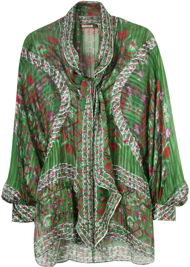 Roberto Cavalli Forest Green Silk Tunic