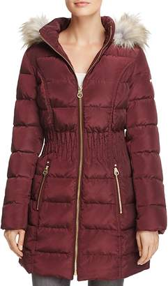 Laundry by Shelli Segal Windbreaker Faux Fur Trim Cinched Waist Puffer Coat